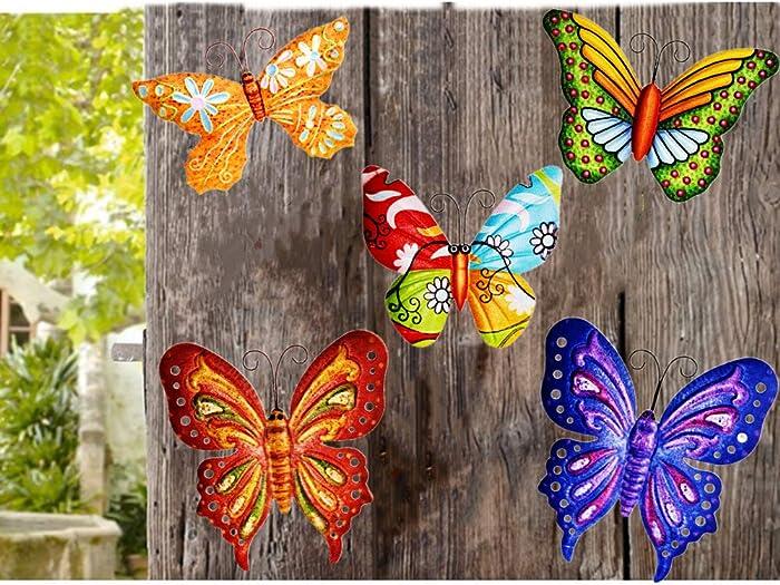 MIXUN 3D Metal Butterfly Wall Accents, Butterfly Wall Decor Sculpture Hang Outdoor Garden for Home, Bedroom, Living Room, Office, Garden