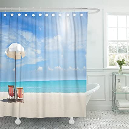 Breezat Shower Curtain Umbrella Beach Chairs On The White Sand With Cloudy Blue Sky And Sun