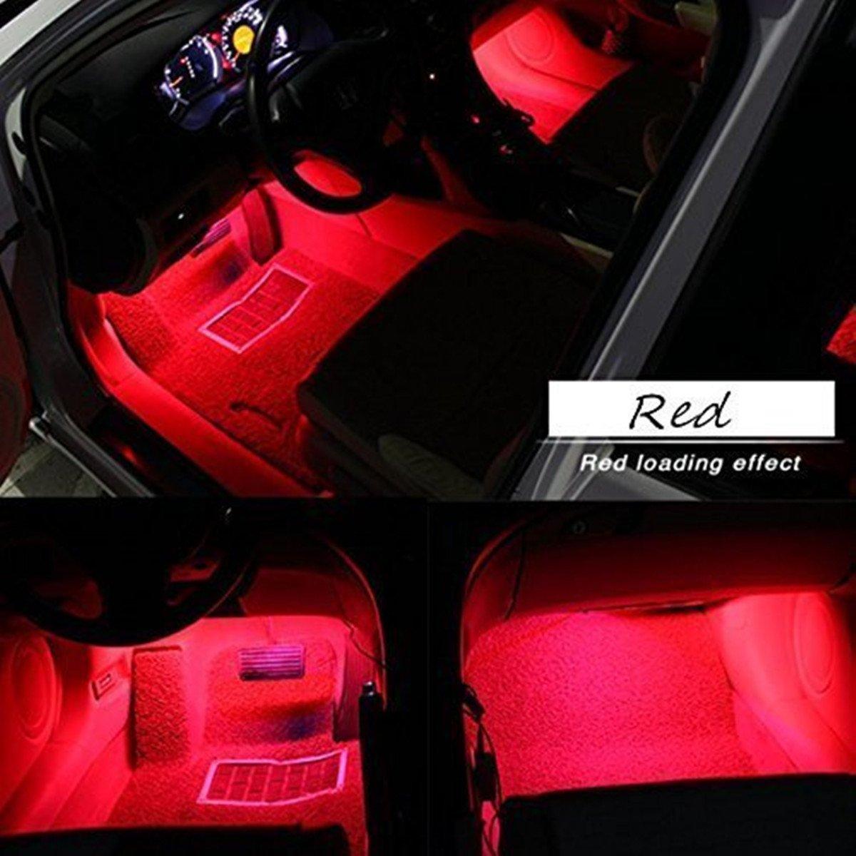 Car LED Strip Light, EJ's SUPER CAR 4pcs 36 LED Multi-color Car Interior Lights Under Dash Lighting Waterproof Kit with Multi-Mode Change and Wireless Remote Control, Car Charger Included,DC 12V EJ' s SUPER CAR