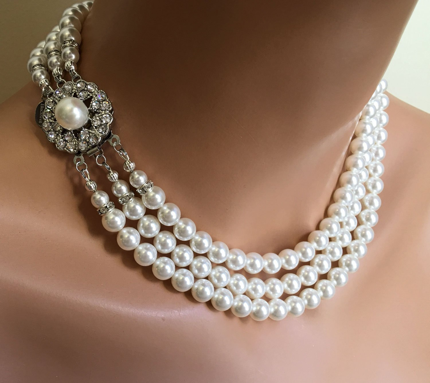 Classic Pearl Necklace Set Vintage style like Jackie O Earrings included  with Fancy Rhinestone Clasp multistrand Swarovski pearls White or Cream  Ivory ...