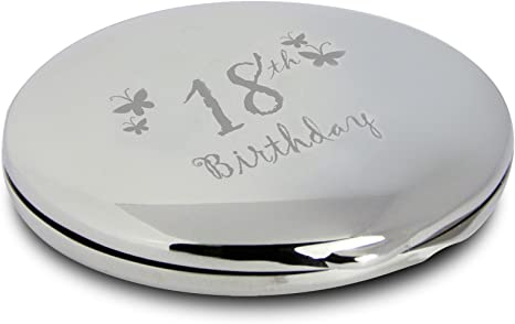 Image ofSilver Finish Engraved 18th Birthday Round Compact Mirror with Butterflies Great Gift Idea for Birthday Gifts Friends Presents