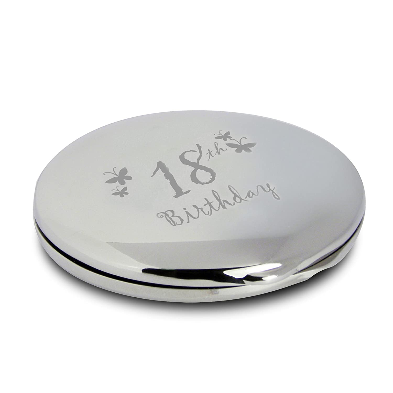 Silver Finish Engraved 18th Birthday Round Compact Mirror with Butterflies Great Gift Idea for Birthday Gifts Friends Presents Gifts for Women