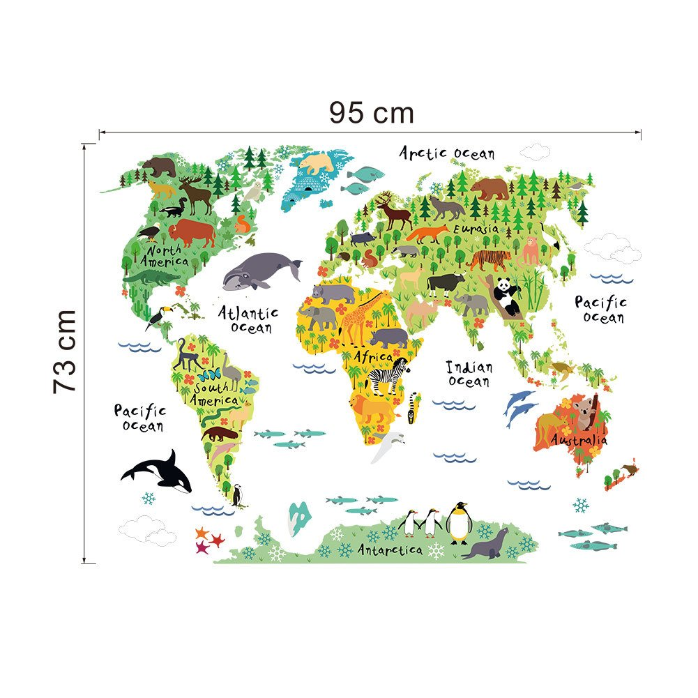 Amazon murals world map country cartoon typical animals jungle amazon murals world map country cartoon typical animals jungle removable nursery wall art decor peel stick decals stickers for kids playroom decor gumiabroncs Image collections