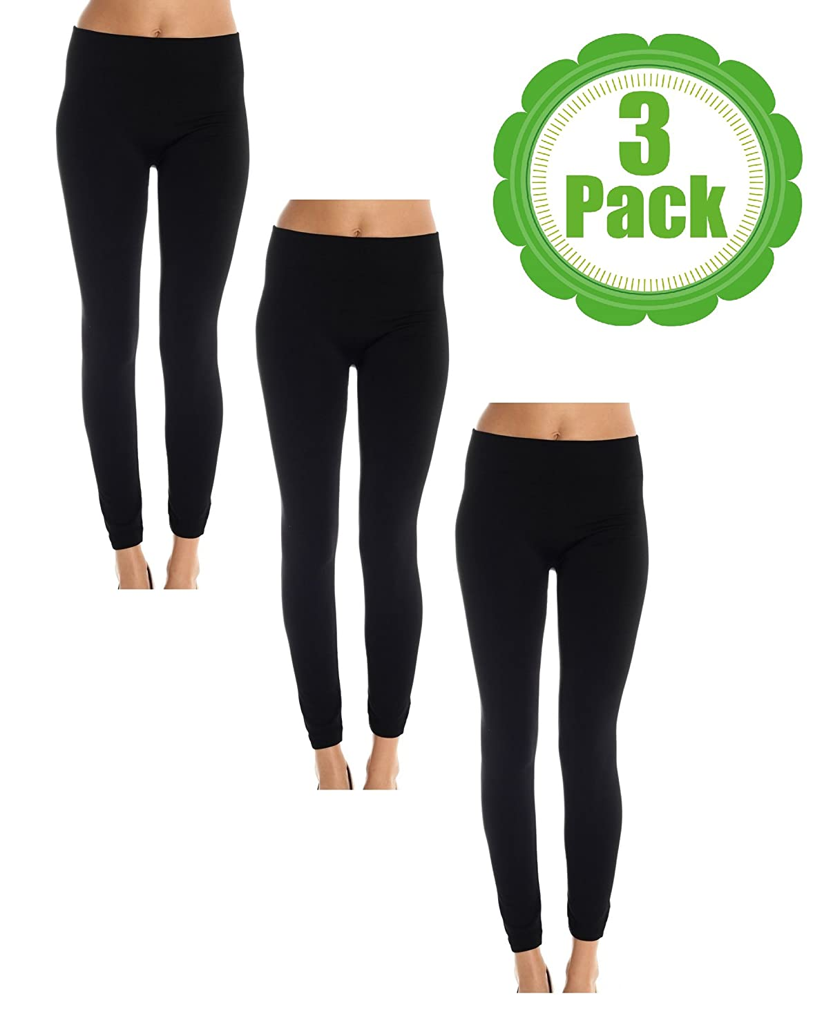 American Casual Women's Seamless 3 Pack Fleece Lined Leggings at ...
