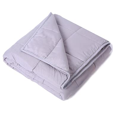 Kpblis Weighted Blanket 15 lbs 60  x 80  for 140-180 lbs, 100% Cotton Fabric Full Size Blankets 2.0 for Adult, Light Gray