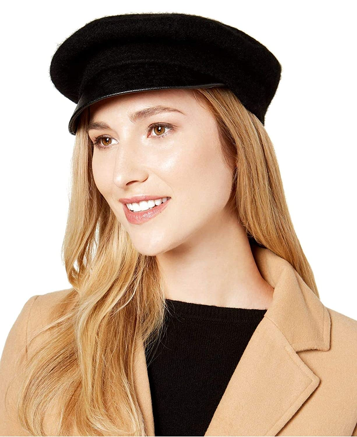 Nine West Womens Wool /& Faux-Leather Newsboy Hat Black One Size