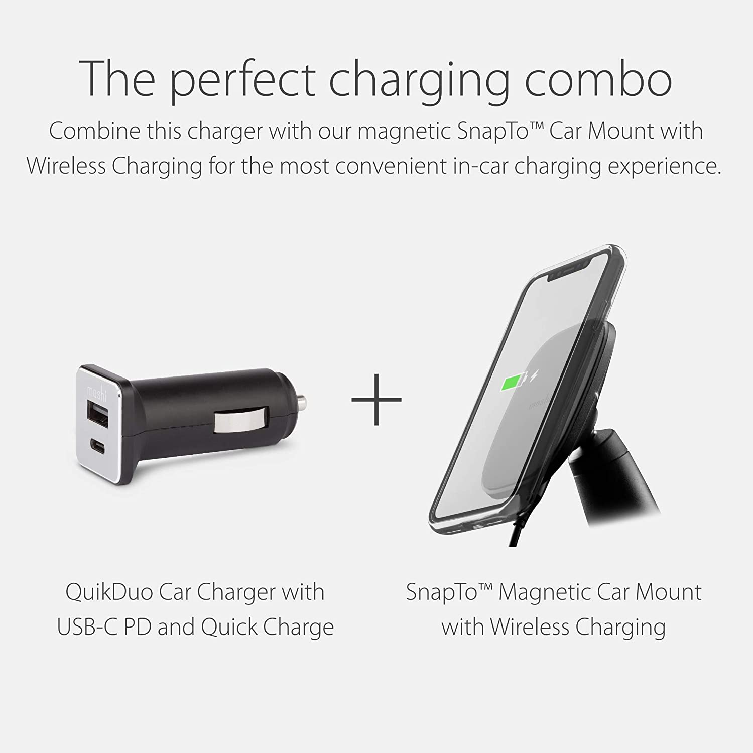 Moshi QuikDuo Car Charger 36W for iPhone//Android /& Other Mobile Devices Ultra-Compact Black Fast Charging USB C Power Delivery /& Quick Charge 18W 9V//2A