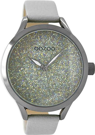 Oozoo - Reloj de pulsera para mujer con cinta de piel 43 mm Purpurina gris/gris C9125: Amazon.es: Relojes