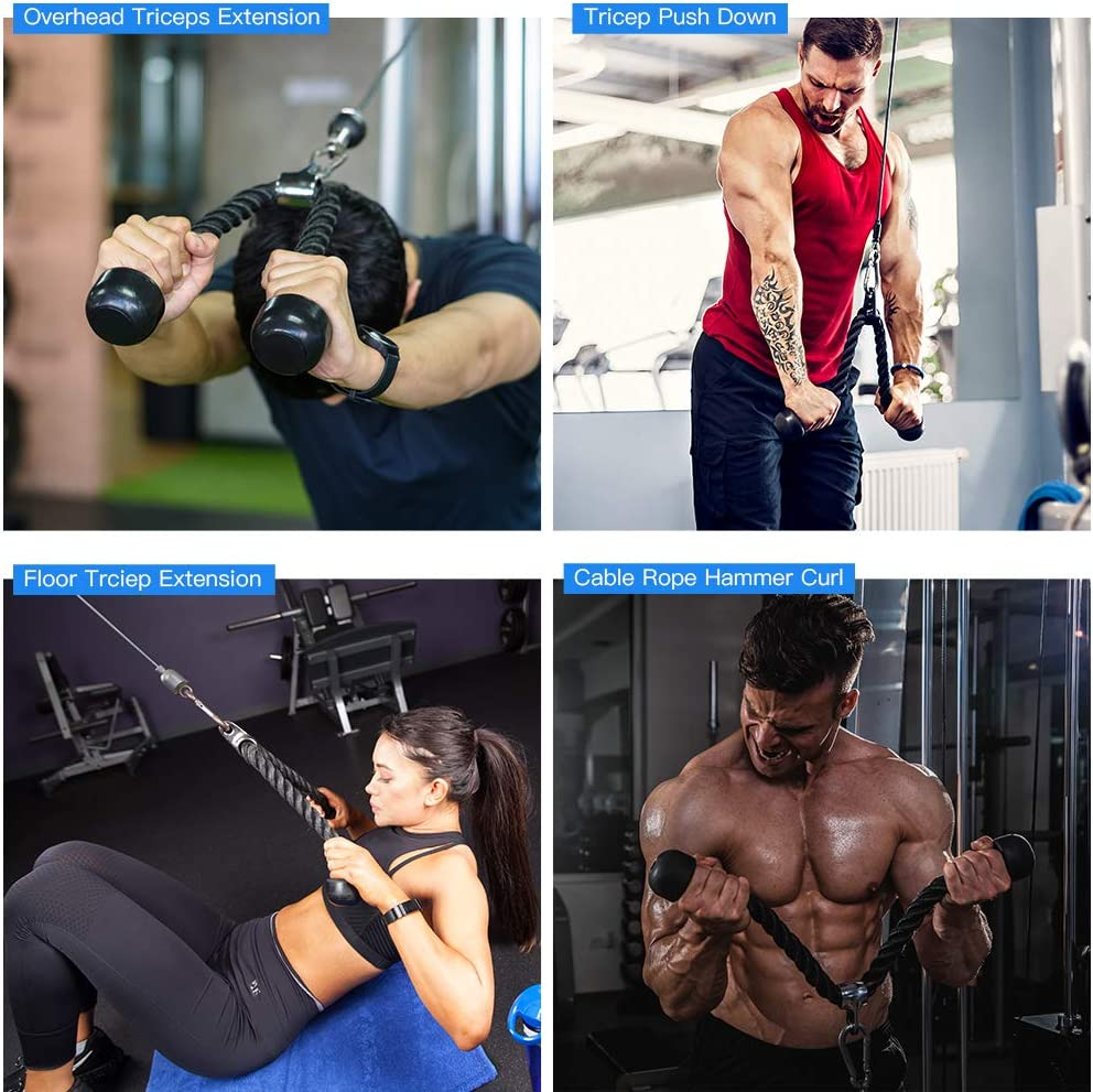Elikliv Pulley Cable System Fitness DIY Loading Pin Lifting Triceps Rope Machine Workout Adjustable Length Home Gym Sport Accessories