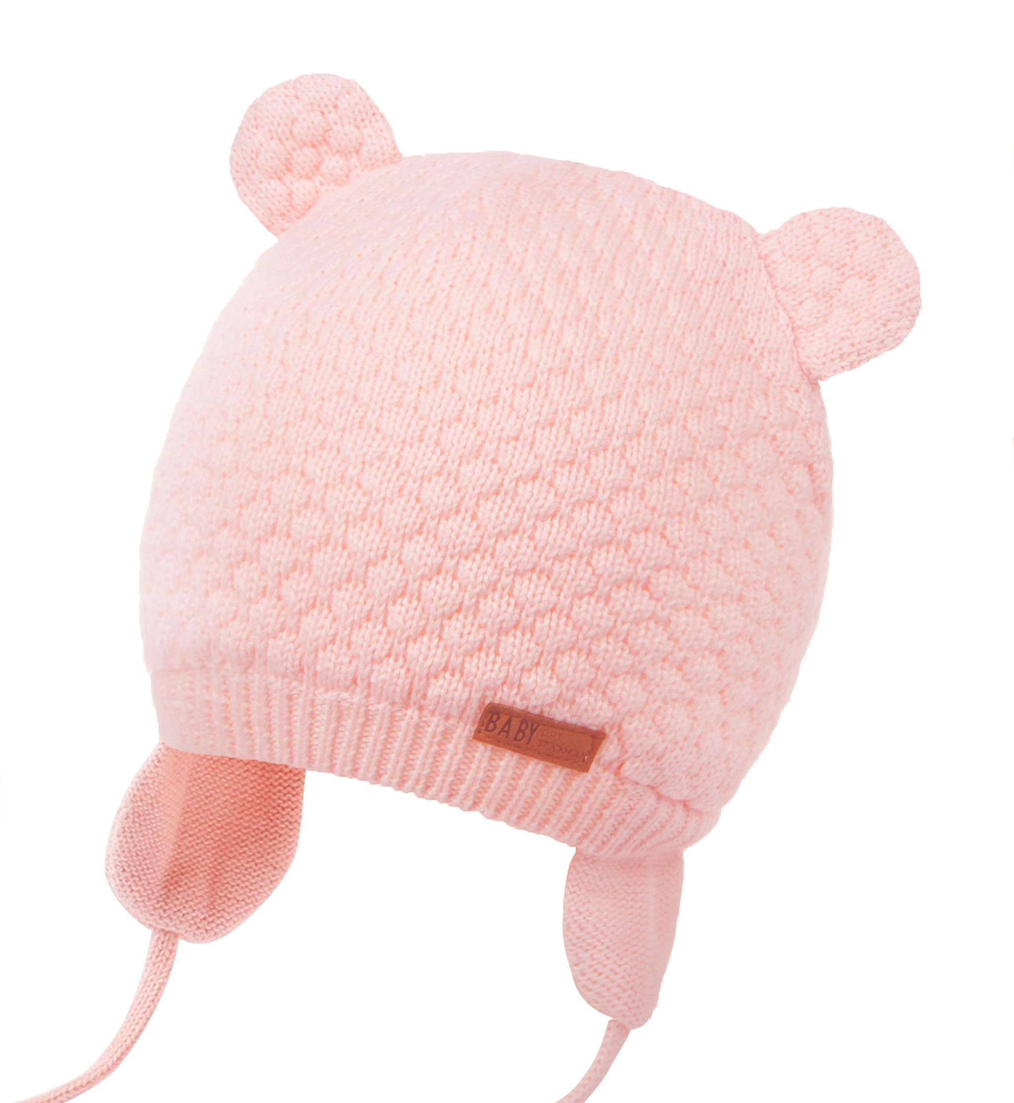 Joyingtwo Soft Warm Knit Wool Cute Bear Baby/Infant/Toddler Beanie Hat with Earflap for Winter/Autumn, Pink L