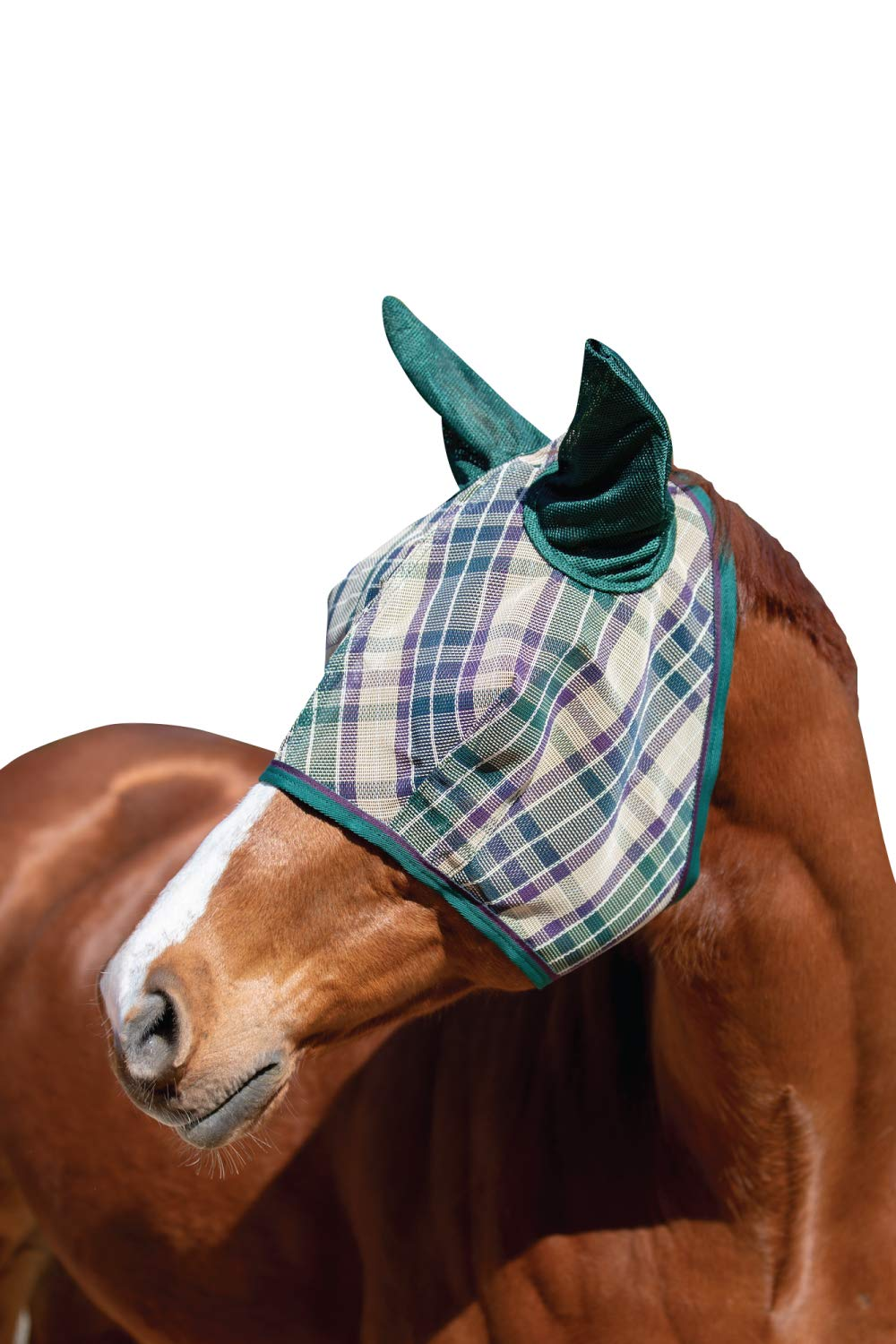 Kensington Signature Fly Mask with Removable Nose and Soft Mesh Ears - Protects Horses Face, Nose and Ears from Biting Insects and UV Rays While Allowing Full Visibility (L, Deluxe Hunter)