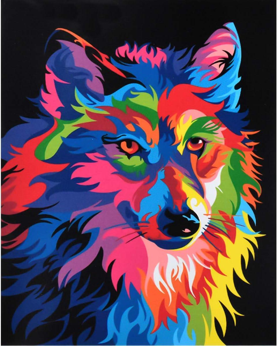 DIY Conjunto Completo de Pinturas para el Hogar Jinlaili Colorido Lobo Pintar por Numeros para Adultos Ni/ños Pintura por N/úmeros con Pinceles y Pinturas Decoraciones 16*20 Pulgadas, Sin Marco