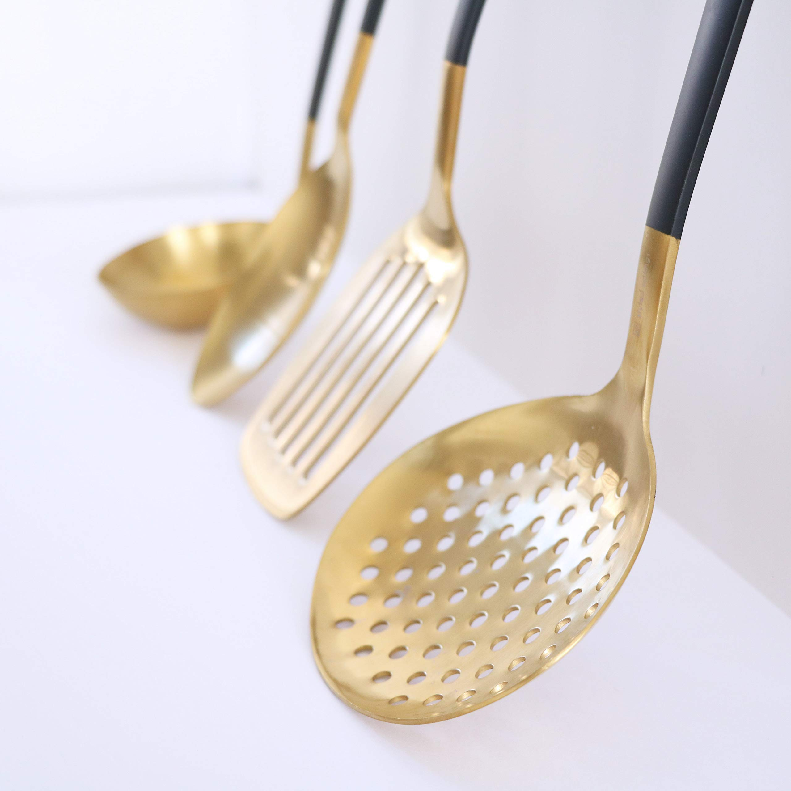 Black and Gold Utensil Set for Cooking and Serving, Stainless Steel Serving Utensils include - Black and Gold Metal Ladle, Skimmer, Serving Spoon, Turner: Gold Serving Sets by STYLED SETTINGS (Image #3)