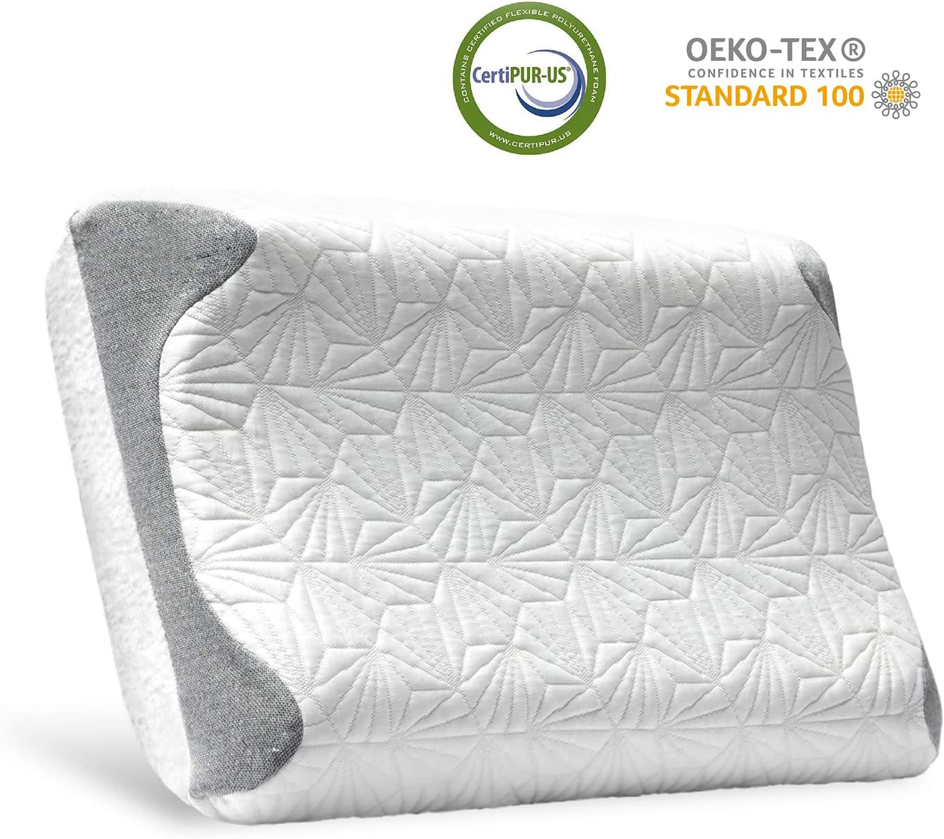 Bedsure Memory Foam Pillow Contour Pillow for Sleeping Cervical Support for Neck Pain with Washable Removable Cool & Warm Cover Standard Size
