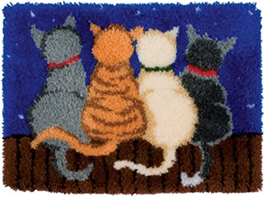 BYT Collections 14 Model Cat Latch Hook Kit Rug Cat 285 21 by 15 Inch 1 Pack