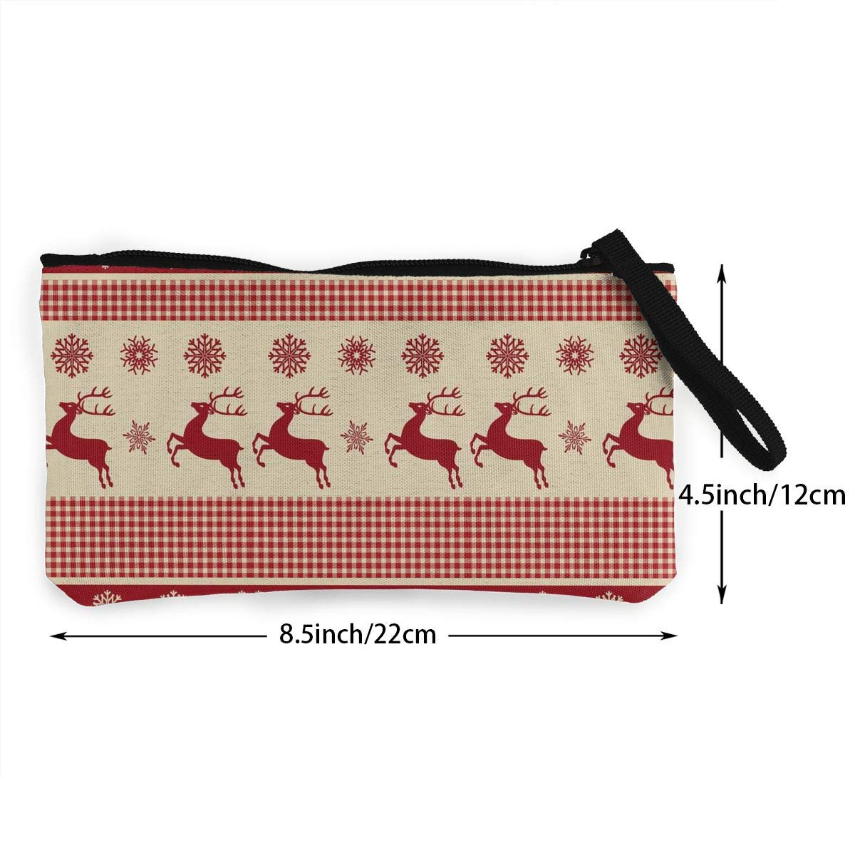 YUANSHAN Red Christmas Deer Unisex Canvas Coin Purse Change Cash Bag Zipper Small Purse Wallets with Handle