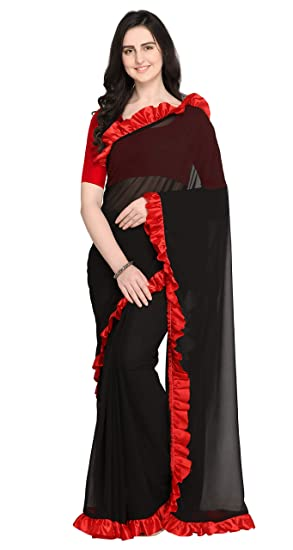 a8dbb0c5ebddc0 Sugathari Women's Black and Red Poly Georgette Dyed Design Saree ...
