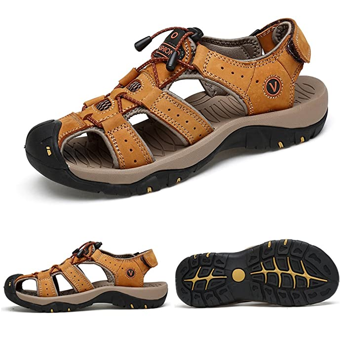 83aa6dc930f5 ZHShiny Mens Leather Sport Sandals Summer Outdoor Beach Shoes Closed Toe  Trail Walking Hiking Black Brown ...