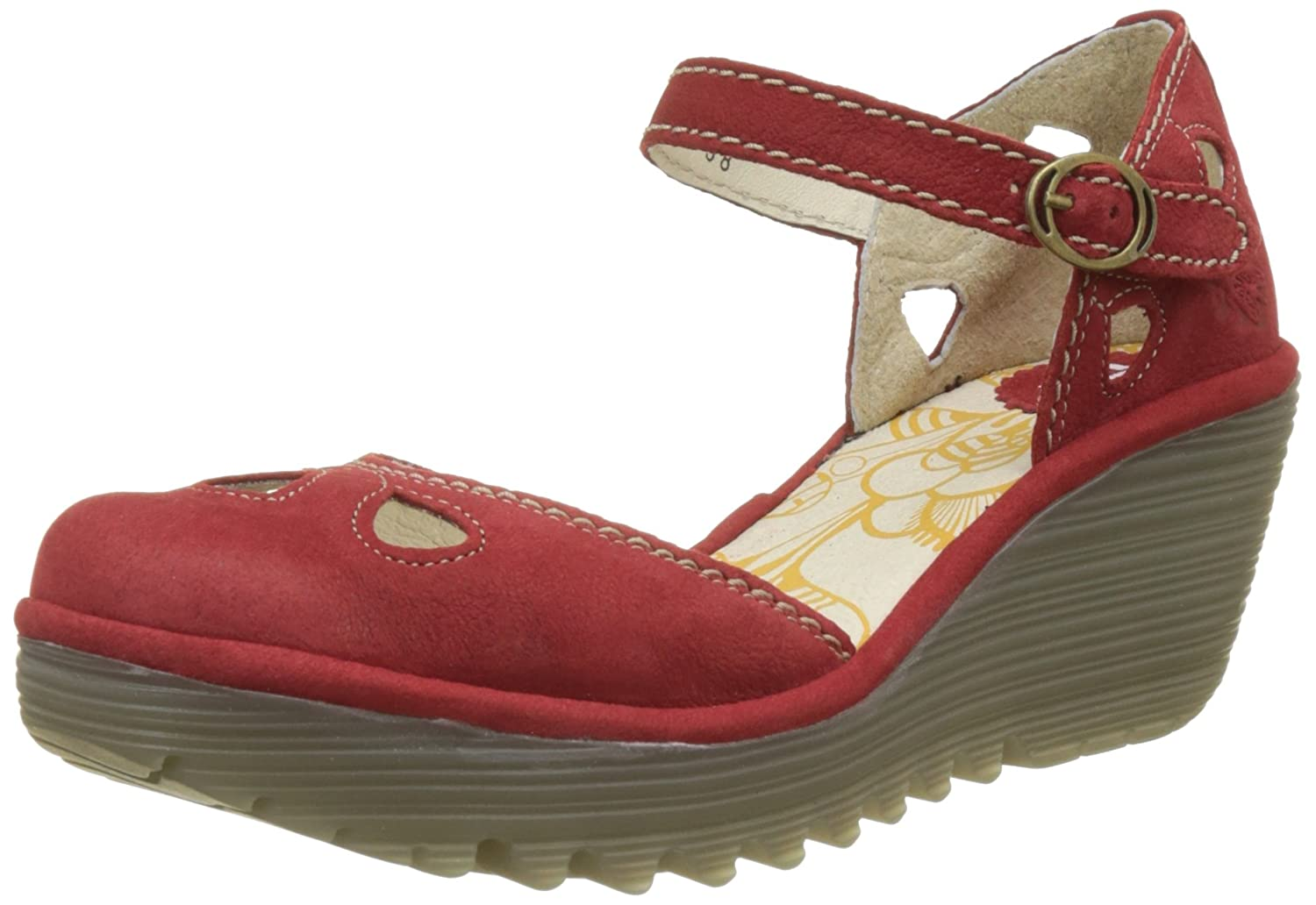 Womens Fly London Yuna Holiday Suede Summer Strappy Sandals Wedge Heel B077C5BMMR 39 M EU|Red