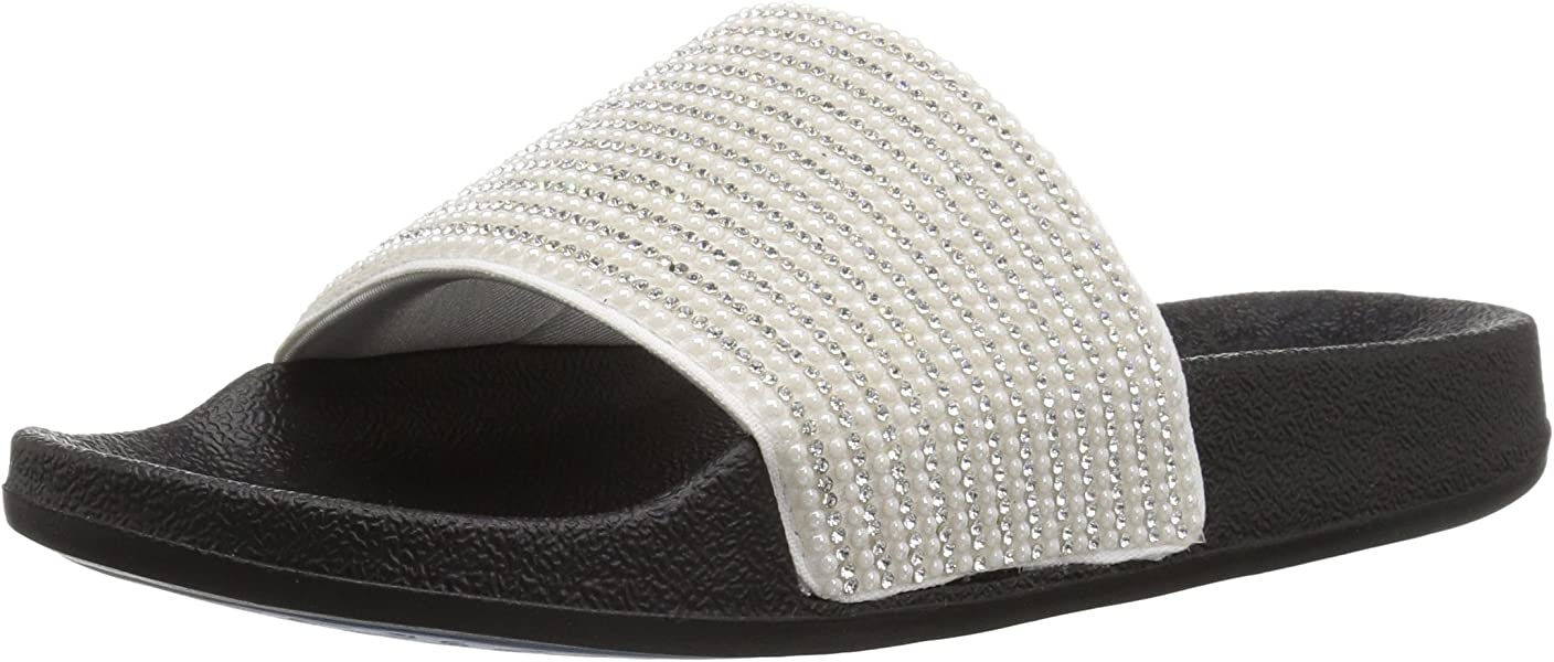 32e821db7095 Skechers Women s POP UPS-Halo Power-Rhinestone and Pearl Shower Slide  Sandal