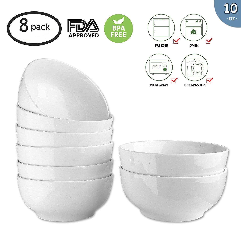 10-Ounce Porcelain Bowl Set,Soup Bowl Set,Dinner Set for Cereal, Soup 8 Packs,White,4.5 Inch