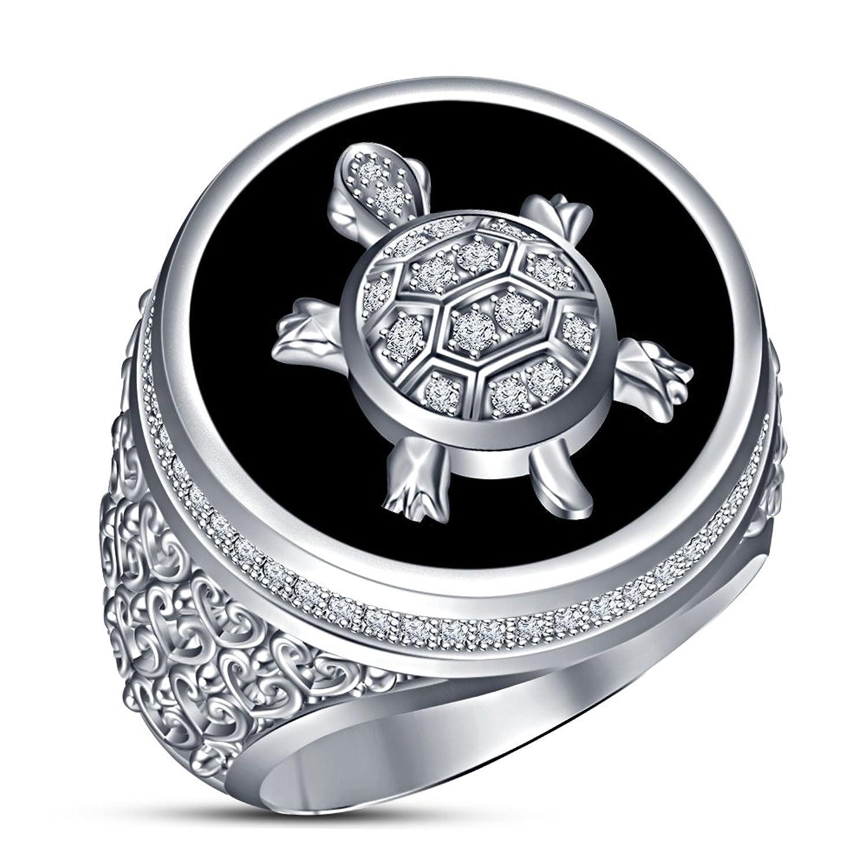 f7d45409996e Vorra Fashion Full chapado en platino sólido 925 plata de ley de tortuga  anillo con esmalte