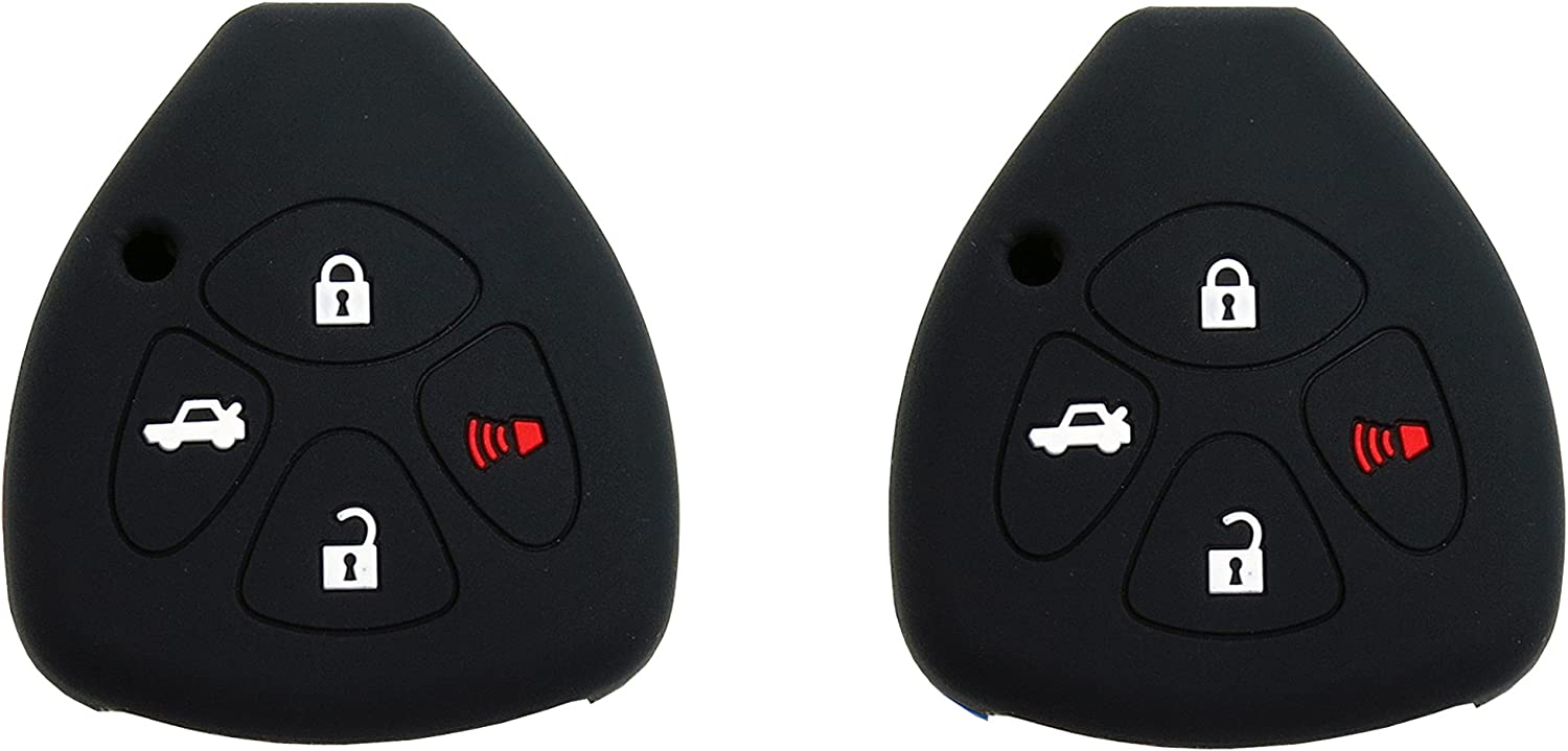 1 Pair BAR Autotech Remote Key Silicone Rubber Keyless Entry Shell Case Fob and Key Skin Cover fit for Toyota Camry Avalon Matrix Corolla Toyota Land Cruiser Black+Red