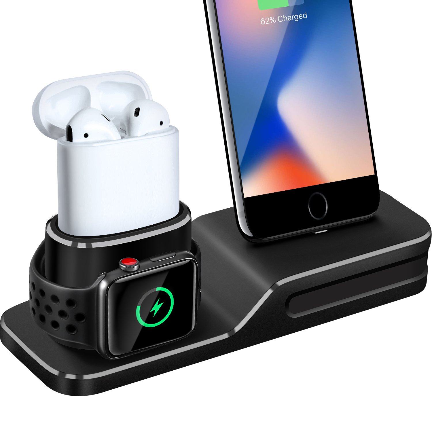 Charging Stand for Apple Watch, 3 in 1 Charging Station Silicone for Apple Watch Series 1/2/3, Airpods, Compatible with iPhone X/8/8 Plus/7/7 Plus/6s/6s Plus (Not Included Cable/Adapter)