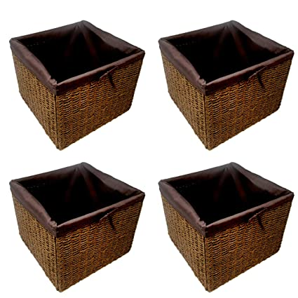 Trademark Innovations 12.7u0026quot; Foldable Paper Rope Storage Basket With  Iron Wire Frame And Removable Fabric