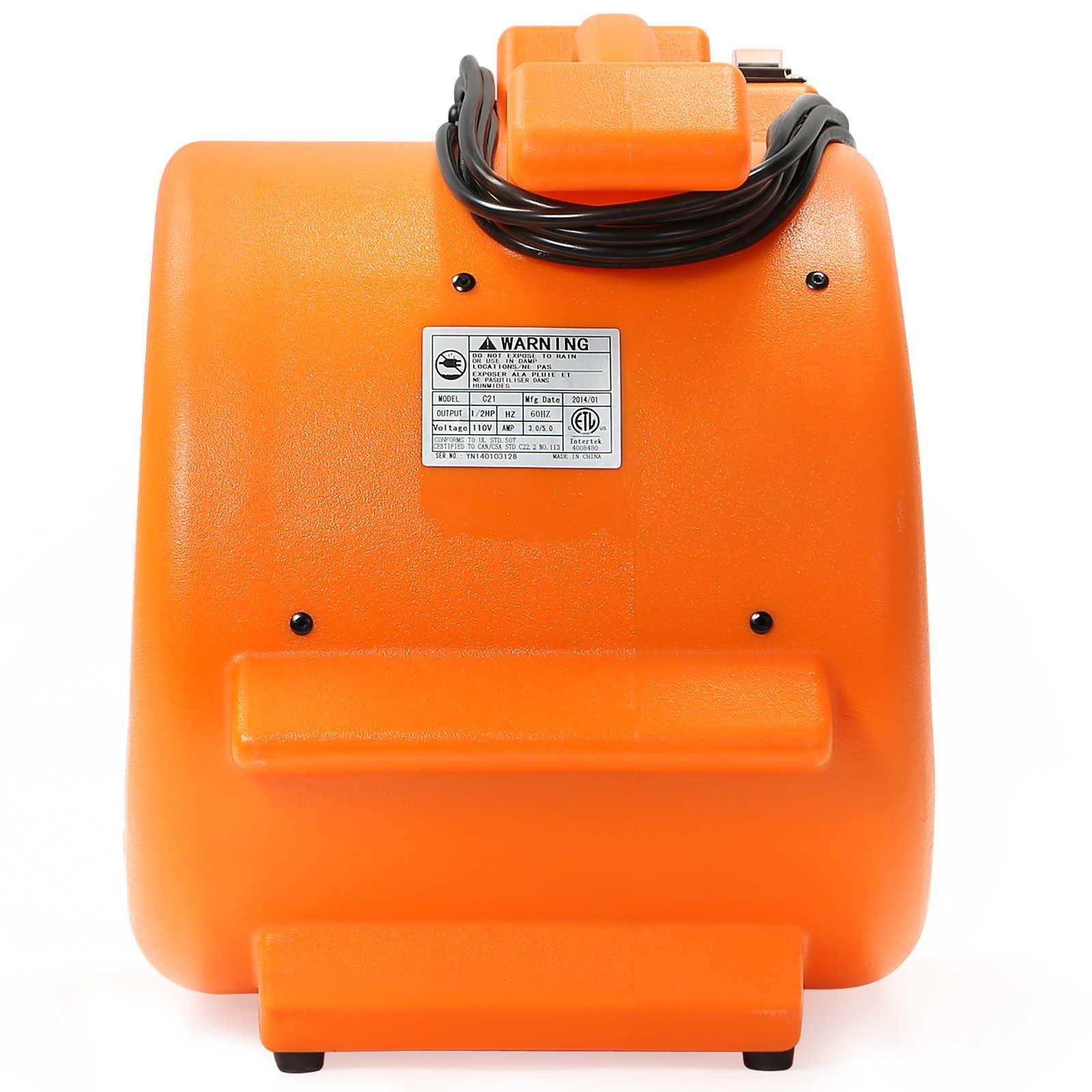 CFM Pro Air Mover Carpet Floor Dryer 2 Speed 1/2 HP Blower Fan - Orange - Industrial Water Flood Damage Restoration by CFM Pro (Image #6)