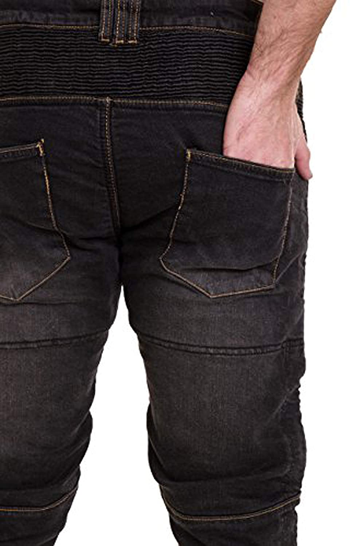 Qaswa Mens Motorcycle Denim Pants Motorbike Jeans Stretch Panel Aramid Protection Lining Biker Trousers