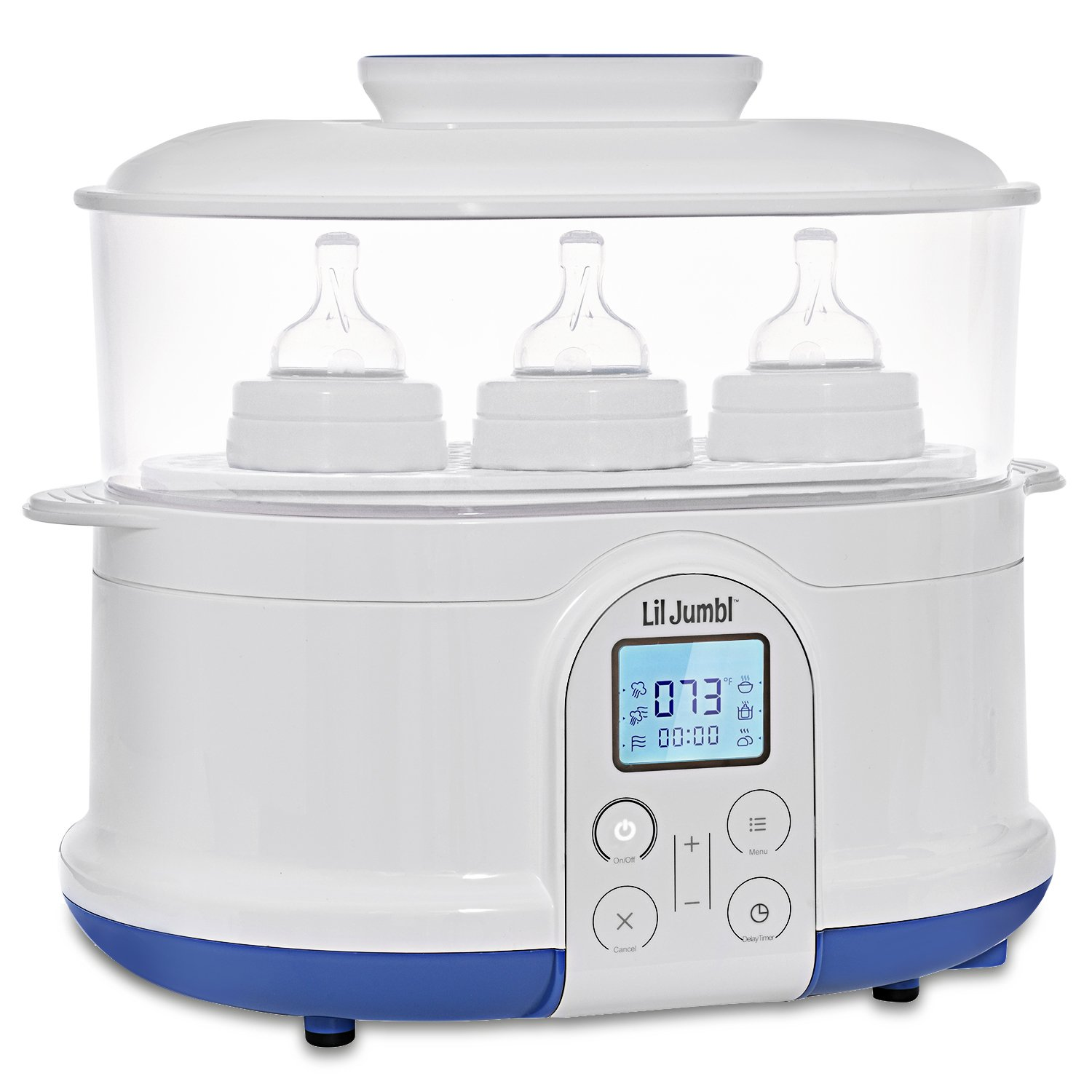 Lil' Jumbl 4-in-1 Bottle Sterilizer Warmer & Dryer w/Food Steamer Function – Digital LCD Display with Custom Heat Settings
