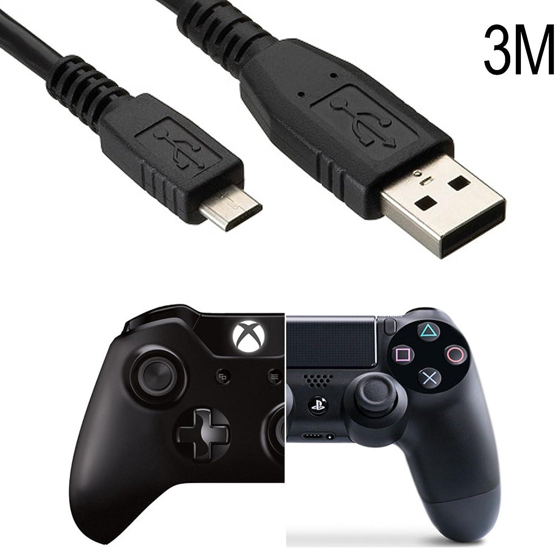 Kit carga y Juega, Cable de 3 m, MicroUsb a Usb, para Xbox One, PS4, PS3: Amazon.es: Electrónica