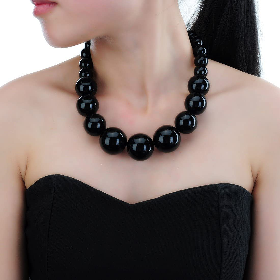 Jerollin 5 colori Girocollo Donna Ragazze Bigiotteria con grandi orecchini di perle