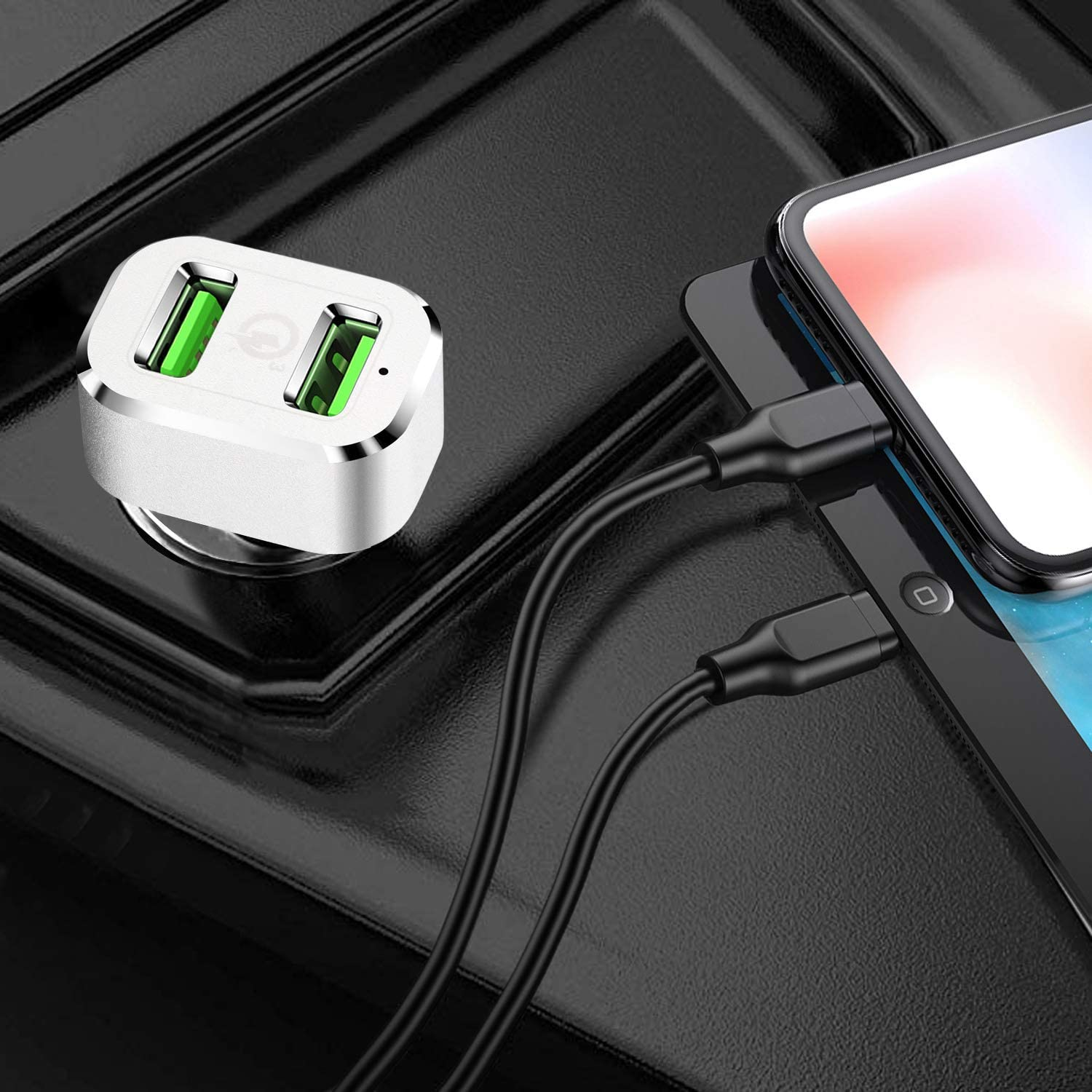OrxnQ Car Charger 36W Quick Charge 3.0 Adapter Fast Dual USB Port QC3.0 Car Charger Compatible for iPhone X Xs XR Xs Max 8 7 6 6s 8Plus Galaxy s10 S9 Plus