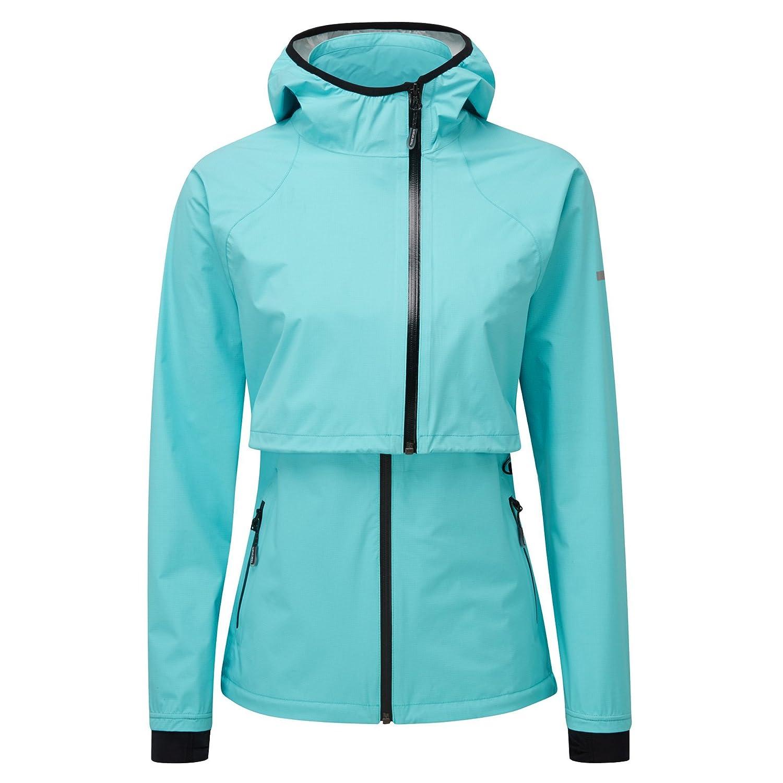 Tribe Sports Women's Running Morph-Jacket Fresh AquaWaterproof, Taped Seams, Packaway Bag, Lightweight, Zip Pockets