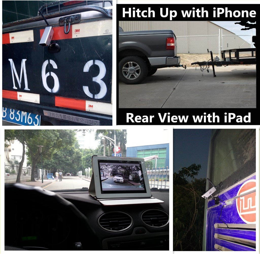 Reversing Camera for Phone Battery Backup Camera WiFi Trailer Camera for Caravan Hitching Rear View with Magnetic Base Night Vision Waterproof Support Android IOS GoPro Tripod Mount-EH04