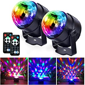 Disco Lights Sound Activated Party Lights, Dj Strobe Light, Disco Ball Light, with Remote Control 7 Modes Stage Light, for Birthday Home KTV Christmas Halloween Parties Wedding Show Club [2-Pack]