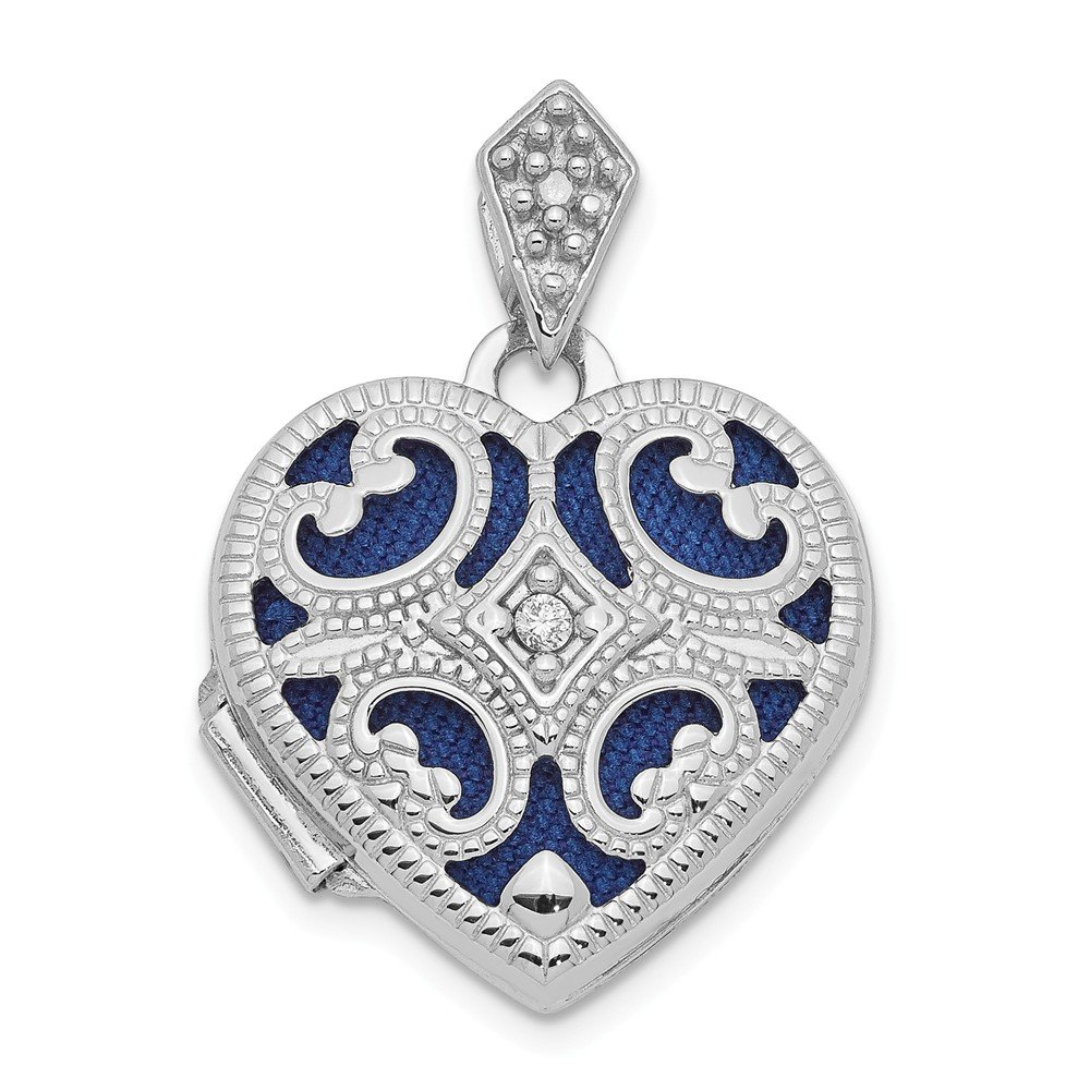 14k White Gold 15mm Diamond Heart Photo Pendant Charm Locket Chain Necklace That Holds Pictures Fine Jewelry Gifts For Women For Her