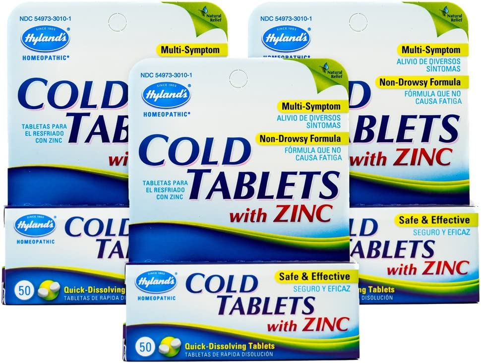 Cold Medicine with Zinc by Hyland's, Decongestant and Sore Throat Relief, Homeopathic Cold Medicine for Adults, 50 Count (Pack of 3)