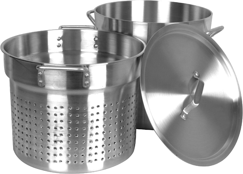 Thunder Group 20 Quart Aluminum Pasta Cooker, Mirror Finish