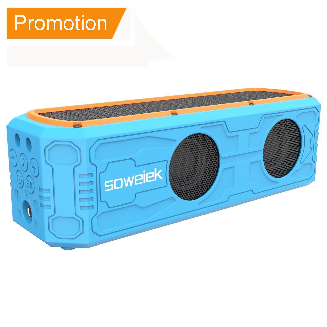 Solar-Powered Bluetooth Speaker, Soweiek Portable Wireless Speakers with 55 Hours Playtime HD Stereo Bass 4400mAh Power Bank Mic AUX IPX5 Waterproof Durable Design - Blue by Soweiek
