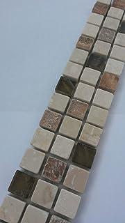 Mosaik Bordre X Cm Naturstein Marmor Glas D Fliesen Braun Creme Beige B.