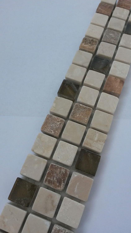 Mosaik Bord/üre 5x30 cm Naturstein Marmor Glas 3D Fliesen Braun Creme Beige B673