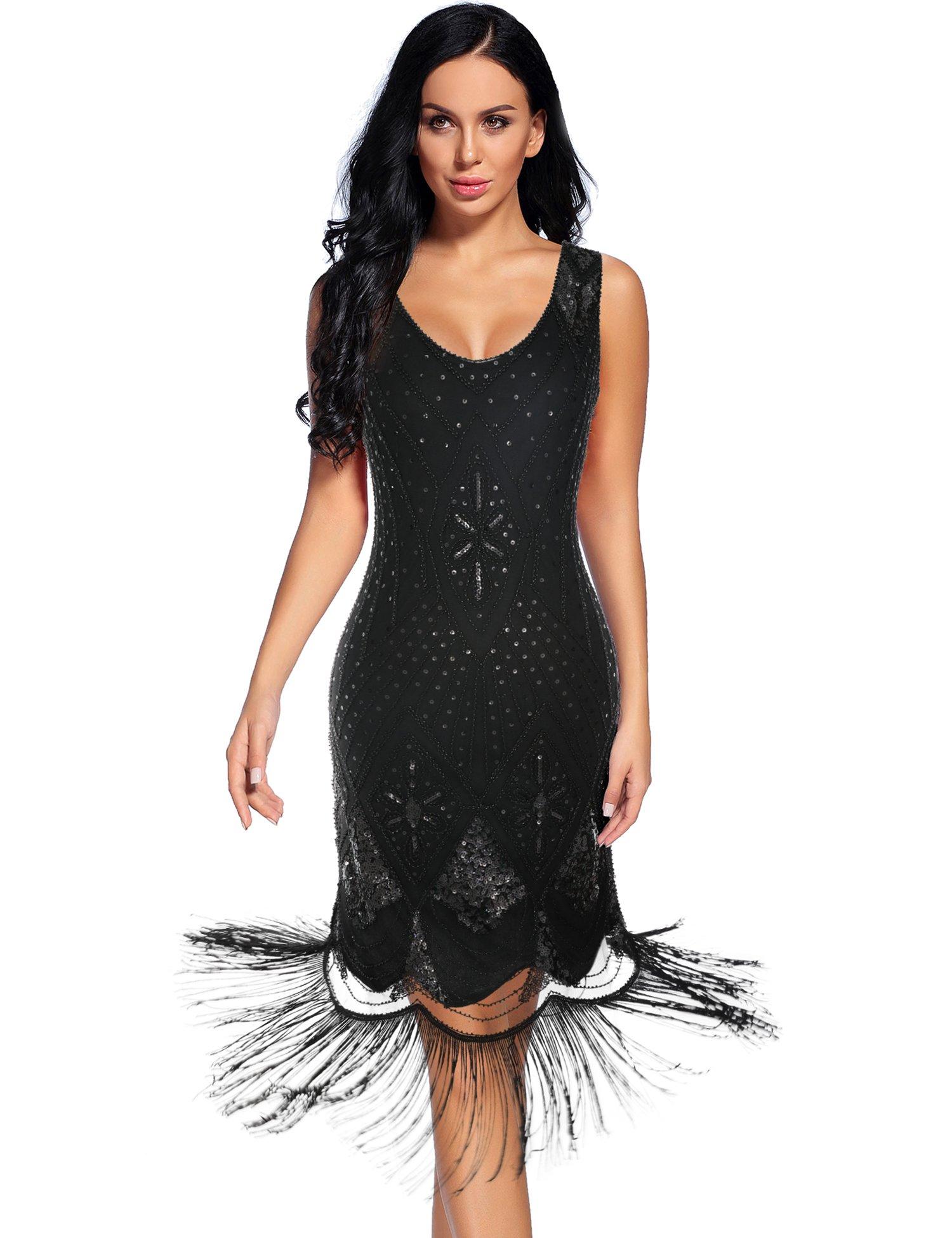 Flapper Girl Women's 1920s Gatsby Cocktail Sequin Art Deco Flapper Dresses (S, Black)