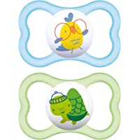 "MAM Sensitive Skin Pacifiers, Baby Pacifier 6+ Months, Best Pacifier for Breastfed Babies, ""Air"" Design Collection, Boy, 2-Count"