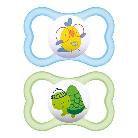 "MAM Sensitive Skin Pacifiers, Baby Pacifier 6+ Months, Best Pacifier for Breastfed Babies, ""Air"" Design Collection"