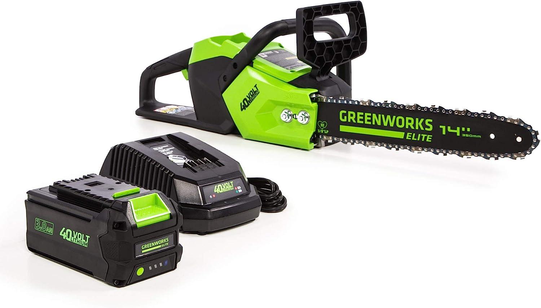 Greenworks 14-Inch 40V Brushless Cordless Chainsaw, 3AH Battery (USB Hub) CS-140
