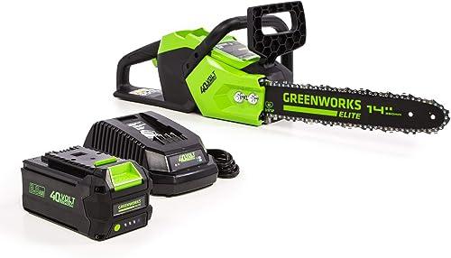 Greenworks 14-Inch 40V Brushless Cordless Chainsaw, 3AH Battery USB Hub CS-140