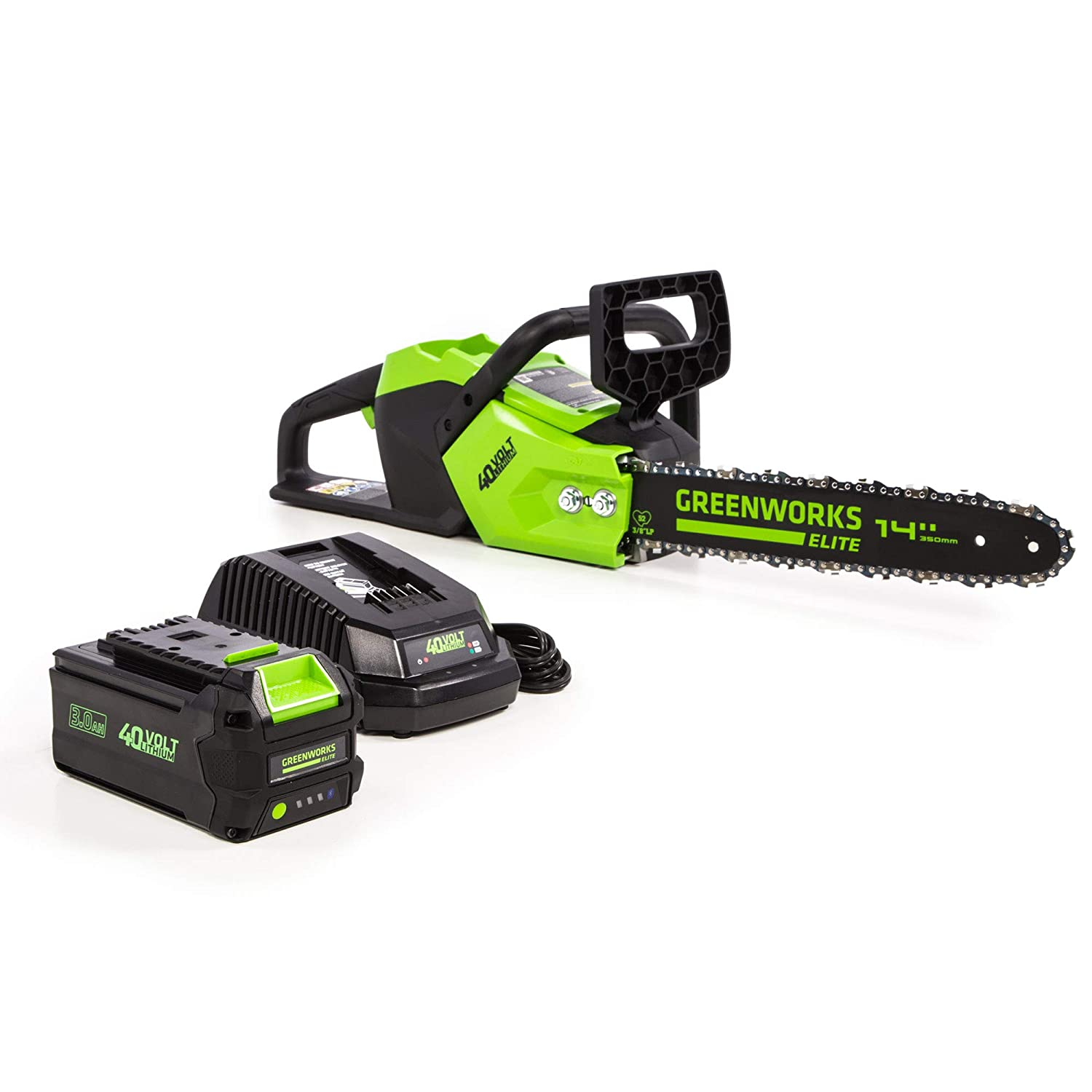Greenworks 14-Inch 40V Brushless Cordless Chainsaw, 3AH Battery USB Hub CS-140